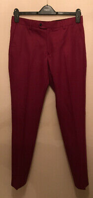 NEW NEXT Mens / Boys Size 30R Burgundy Red Skinny Fit Smart Trousers RRP £35