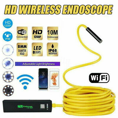 8mm HD Wireless Endoscope USB WiFi Borescope Inspection Camera fr Phone Android