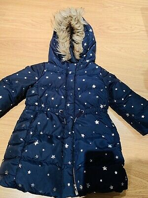 Girls GAP Down Feather Navy And Star Puffa 3 Years Warm Hooded Winter Coat Used