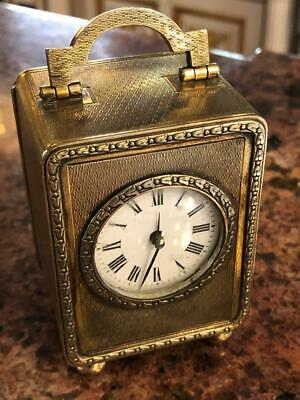 Antique 20thC Asprey Solid Silver Gilt Carriage Clock,London c.1912