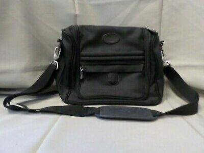 "Atlantic Seahorse 12"" Carry On Travel Bag Black Canvas With Shoulder Strap"
