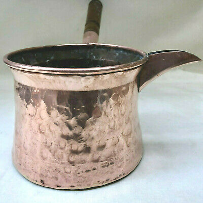 Antique French Rustic Hand Made Hammered Copper Milk Pan With Wooden Handle
