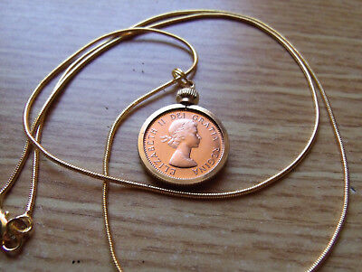 """1964 Canada Elizabeth Mint 1 Cent Coin Pendant on a 24"""" Gold Filled Snake Chain."""