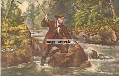 "1952 Vintage Currier /& Ives /""HOME FROM THE BROOK/"" FISHING COLOR Lithograph"