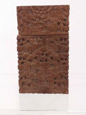 Antique Chinese Export Boxwood (?) Carved Card Case - Damaged