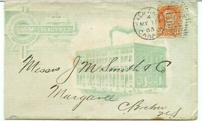 1885 Small Queen Advertising green ink McCready co Halifax s/r ad cover Canada