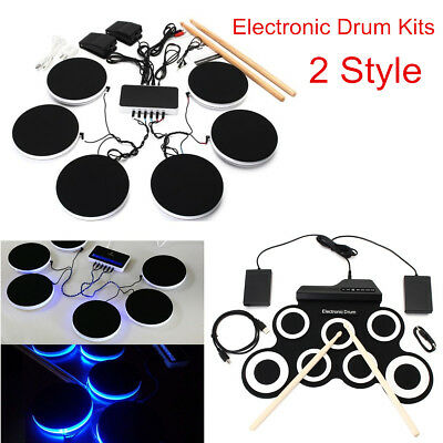 Portable Electronic Drum Kits Pedals Roll Up Musical Instrument with Drum Sticks