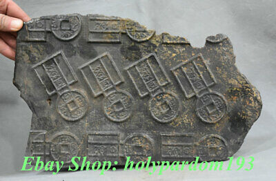 "12"" China Hongshan Culture Meteorite Iron (black magnet) carved Knife Coin Money"