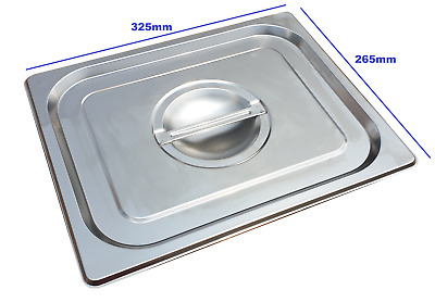 Stainless Steel Steam Pan Lid Cover 1/2 Size Bain marie Hot box Salad bar cafe