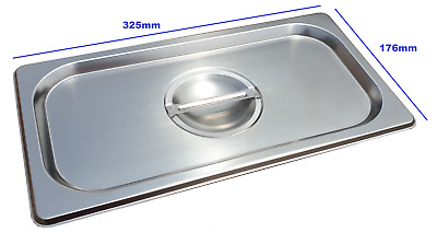 Stainless Steel Steam Pan Lid Cover 1/3 Size Bain marie Hot box Salad bar cafe