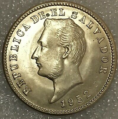 1952 EL SALVADOR 10 CENTAVOS Coin, Uncirculated, 26mm, free combined Shipping.