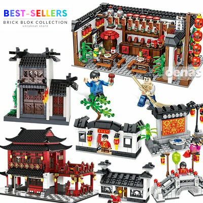 Chinese Street View Ancient Architecture Shop Building Blocks Bricks Toys