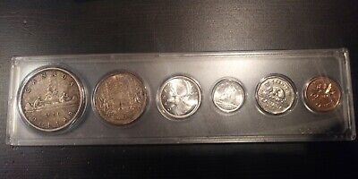 Canada 1956 Silver 6 coin Set, 1 dollar & 50 cents (toned), 25, 10, 5 & 1 cent