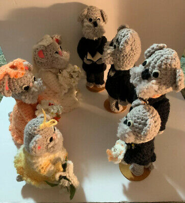 Adorable Vintage Crocheted Mice Complete Wedding Party