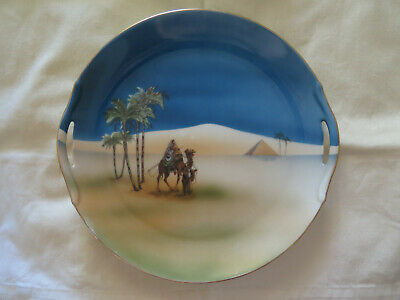 NORITAKE CHINA CAKE PLATE or TRAY CAMEL & PALM TREES DESERT SCENE c1920s BLUES