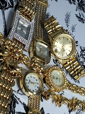 """Lot of 5 Gold Tone Dress Watches 2 w/ Rhinestones 4 w/ MOP Dials """"Gorgeous"""" NICE"""