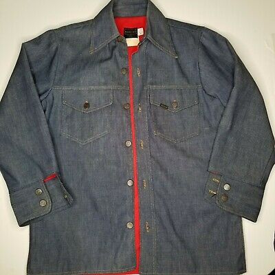 Vintage ROEBUCKS 60's 70's Red Lined Denim Button Up Work Wear 51135 ex cond Med
