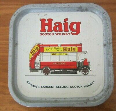 """Vintage Square """"Haig Scotch Whisky"""" Drinks Tray -Tramcar Design-Made In Uk-Used"""