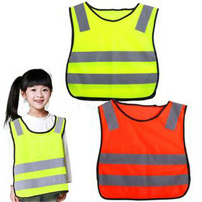 Great Safety Hi Vis Kids Waistcoat Vest Grey Reflective Strips Traffic_