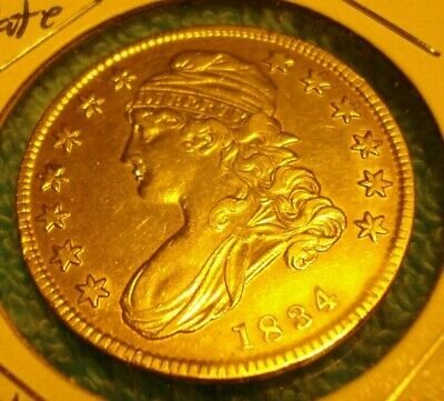1834 Small Date - Small Stars - Small Letters Capped Bust Half Dollar AU Free SH