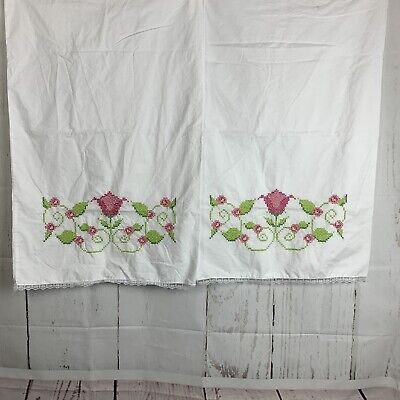 Hand Made Floral Cross Stitch Pillow Slips Unused Pink Tulips