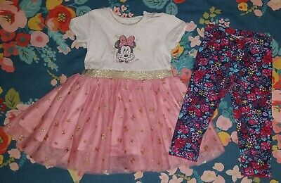 Early Days Minnie Mouse Dress Age 3-6 Months * Monsoon floral leggings * Disney