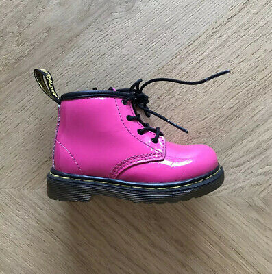 Dr Martens Childrens Infant Size 5 Boots Pink Patent Very Good Condition RRP £60