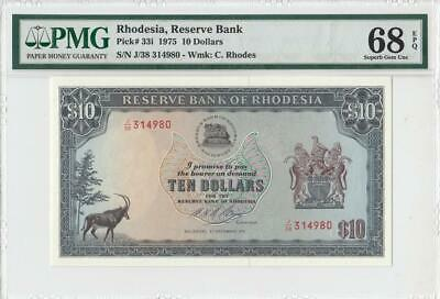 1975 Bank Of Rhodesia 10 Dollars **X-Rare** (( Pmg 68 Epq ))