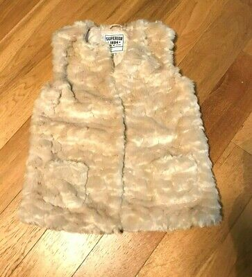 "M&S Girls Cream Faux Fur Gilet - Age 13-14 Front studs sleeveless 24"" long VGC"