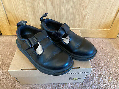 Dr Martens Girls Black Leather School Shoes 'Ryan' Style - Size 9 VGC