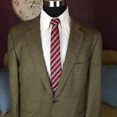 Brooks Brothers Sport Coat 44 L Brown Houndstooth Wool Cashmere 2 Button