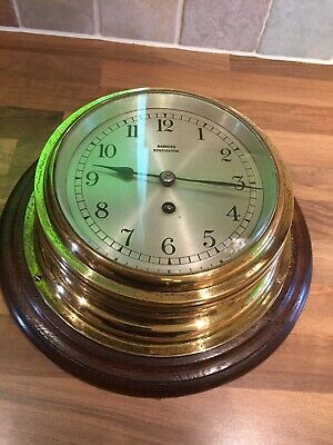 Large Vintage Brass Barkers Ships Clock Working GB Nautical Maritime Marine Boat