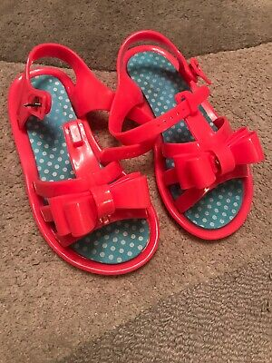 Next Girls Pink Bow Jelly Type Shoes - Size: 11