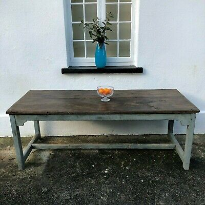 """Large Antique Pine 6ft 6"""" Rustic 8 Seater Kitchen Dining Hall Table Work Bench"""