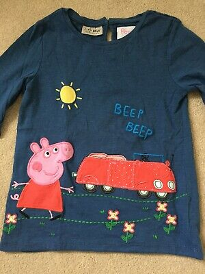 Next Girls Navy Blue Peppa Pig Long Sleeve Top Size 5-6 Years New!