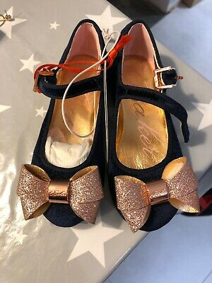 Bnwt Girls Ted Baker Navy Velvet Bow Shoe Size 8