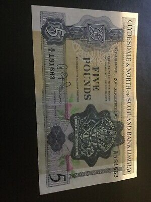 CLYDESDALE & NORTH OF SCOTLAND BANK 1961 £5 BANKNOTE IN Good Condition