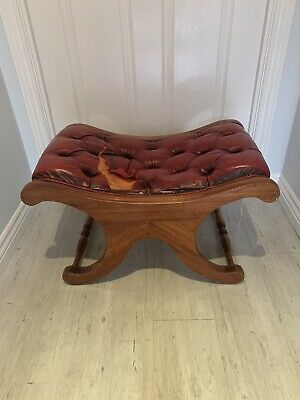 Project CHESTERFIELD OXBLOOD LEATHER & MAHOGANY CURVED FOOTSTOOL Damaged