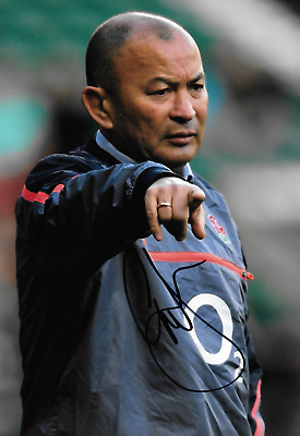 eddie jones manager training seesion on pitch with england signed 12x8 photo