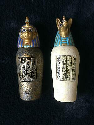 Vintage Egyptian 1970's Mini Mummy & Anubis Canopic Jars x2 $29.99 the set