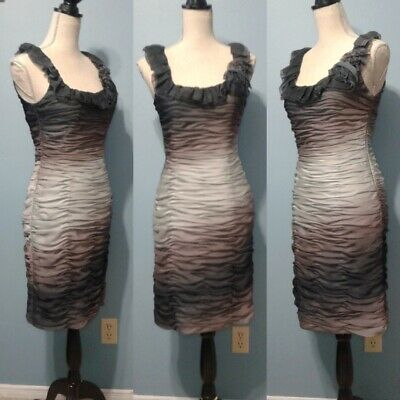 Adrianna Papell Boutique Womens 6 Gray Purple Ombre Ruffled Ruched Flower Dress