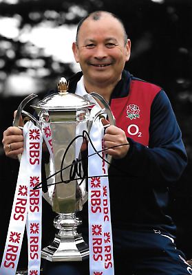 eddie jones england manager celebrating with grand slam trophy signed 12x8 photo