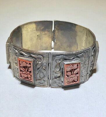 China Chinese Export Silver Cinnabar Carved Flowers Panel Antique Bracelet