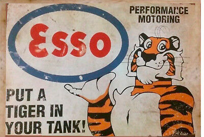 Esso tin metal sign put a tiger in your tank man cave new