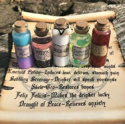 Harry Potter Magic Potion Set and Scroll, Skele-Gro, Felix Felicis, Potion 329