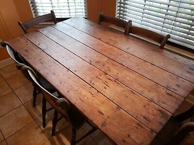 Antique Irish pine Cottage table and Chairs. 19th century
