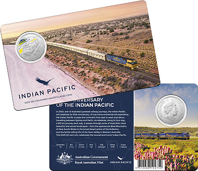 FREE POST AUSTRALIA 2020 50c CENTS INDIAN PACIFIC TRAIN COLOURED UNC COIN