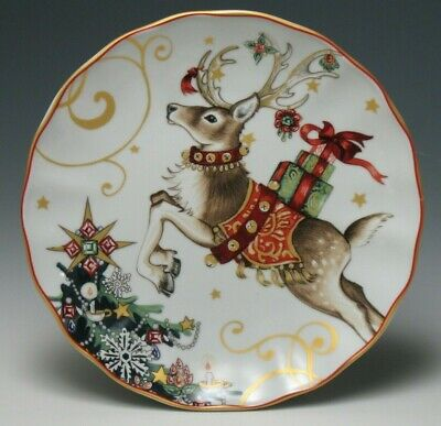 """New Williams Sonoma Twas The Night Before Christmas Reindeer Salad Plate 8-1/4"""""""