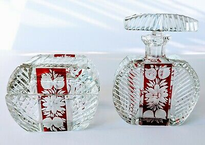 Antique Ruby Cut to Clear Crystal Perfume Bottle & Vanity Box Bohemian
