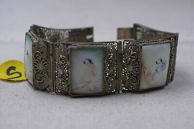 Antique Chinese Silver Filigree Mother Of Pearl Bracelet